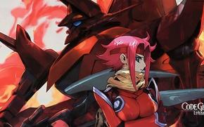 Picture flame, scarf, code geass, red hair, combat robot, takahiro himura, kallen kozuki