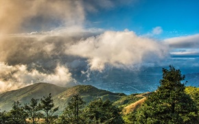 Picture forest, clouds, trees, mountains, Hong Kong, valley, China