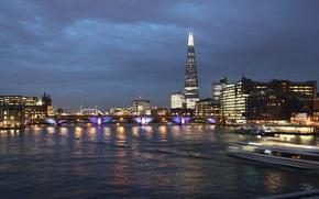 Picture london, river, sky, night, tower bridge, shard, london, thamesis, united kingdon, london bridge, shard tower, …