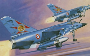 Picture war, art, airplane, painting, aviation, jet, Mirage F.1C