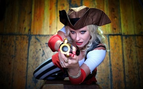 Picture look, girl, pirate, pistol