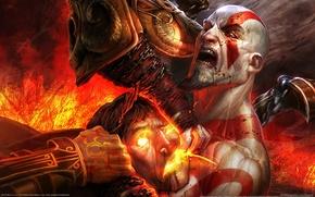Wallpaper Game wallpaper, red, blood, kratos, god of war 3, demon