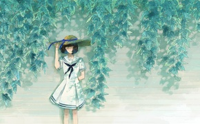 Picture leaves, girl, art, hat, Is this