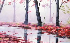 Wallpaper autumn, leaves, trees, nature, river, art, red, river, artsaus