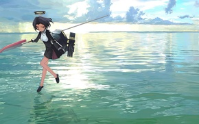 Picture the sky, water, girl, clouds, weapons, the ocean, anime, art, halo, kantai collection, mocha, tatsuta