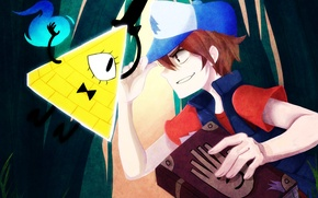 Picture magic, the opposition, being, boy, art, book, triangle, diary, Gravity Falls, Dipper Pines, Bill Cipher, …