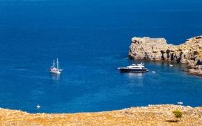 Picture sea, stones, rocks, shore, yachts, Greece, Rhodes Island