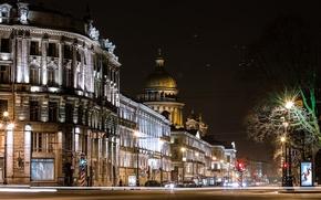 Picture road, night, lights, street, lights, Russia, Peter, Saint Petersburg, St. Petersburg
