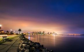 Picture skyscrapers, bridge, the sidewalk, road, San Diego, coast, lights, sea, night, shop, lights, stones, USA