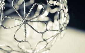 Picture flowers, metal, pattern, ball, black and white, Christmas ball, wire, monochrome