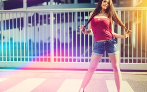 Picture summer, girl, face, background, hair, jeans, legs