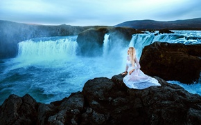 Picture girl, nature, waterfall, dress, sitting