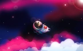 Wallpaper nebula, vector, hedgehog