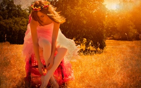 Picture field, summer, the sun, ballerina, Pointe shoes