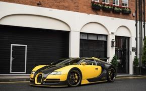 Picture Bugatti, Veyron, Carbon, Black, Yellow
