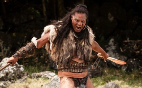 Picture cinema, rock, forest, river, sky, long hair, actor, weapon, jungle, war, feathers, tree, man, movie, …