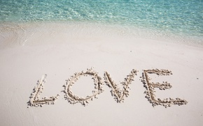 Picture sand, sea, water, love, the inscription, romance, love