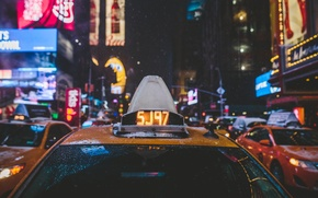 Picture glass, cars, snow, Times Square, winter, Manhattan, taxi, New York, lights, night, United States, street, ...