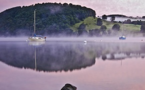 Picture fog, river, boats, morning