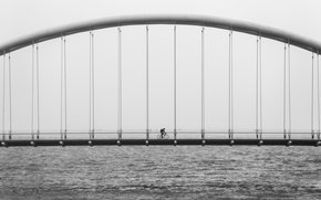 Wallpaper bridge, black and white, bicycle, b/w, suspension, water, ocean, architecture