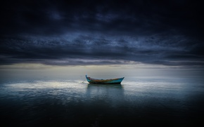 Picture sea, clouds, boat, storm, horizon, gray clouds
