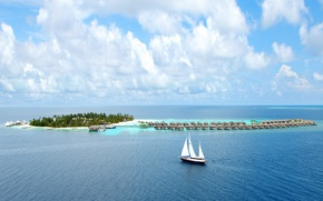 Picture the sky, clouds, island, The ocean, yacht, Bungalow