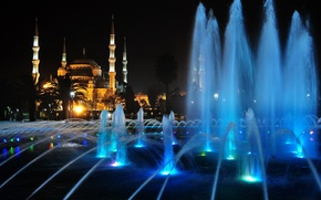Picture night, lights, fountain, mosque, Istanbul, Turkey, the minaret, Sofia