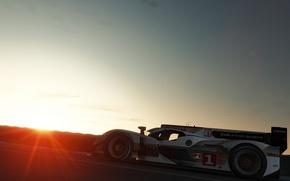 Picture sunset, motorsport, the audi r18 e-tron quattro, le mans 24 hourse