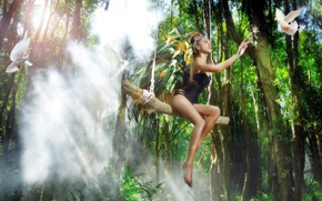 Picture girl, pose, swing