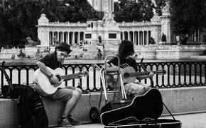 Picture the city, music, people, guitar, fountain, case, speaker, musicians, life, city