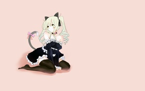 Picture girl, pose, minimalism, tail, form, neko, pink background, etty, ears, the maid, simple background, Golden …