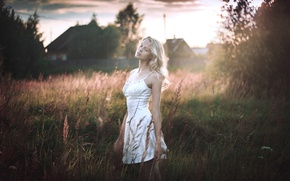 Picture girl, nature, morning