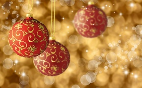 Picture balls, patterns, New Year, Christmas, red, Christmas, gold, holidays, bokeh, New Year