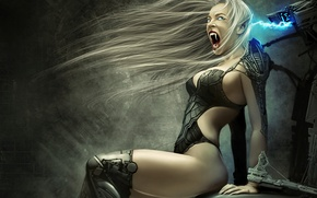Picture girl, chair, art, electricity, fangs, vampire, Creek, charge