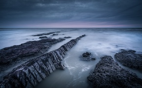 Picture the sky, clouds, rocks, shore, England, the evening, UK, North sea, Suffolk