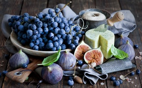 Picture cheese, grapes, still life, figs, grater, figs