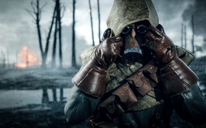 Wallpaper gas mask, soldiers, Electronic Arts, Battlefield 1