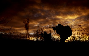 Picture weapons, army, silhouette, soldiers