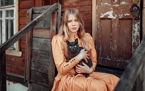 Picture Girl, Look, Model, Cat, Dress, Beautiful, Julia, Orange