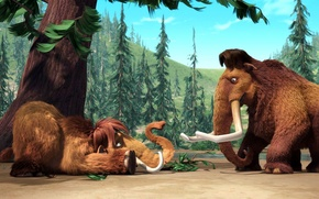 Picture cartoon, ice age, fur, tusks, ice age, a ten-ton mammoth, Manny, devotional possum, Ellie, mammoths