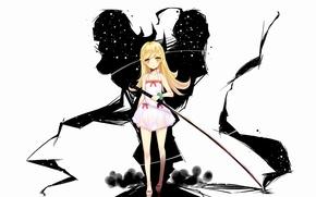 Picture weapons, sword, long hair, bakemonogatari, oshino shinobu, yellow eyes, nisemonogatari