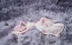 Picture grass, girl, figure, lies