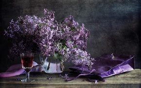 Picture flowers, table, wine, glass, package, vase, still life, lilac