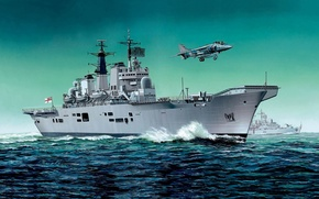 Picture ship, art, the carrier, Navy, Navy, military, fleet, class, indomitable will, British, invincible, Invincible, UK., …