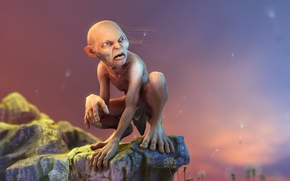Picture rock, the Lord of the rings, art, dandelions, Gollum, render, the lord of the rings, …