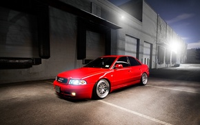 Picture Audi, Audi, red, sedan, red, stance