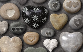 Picture summer, color, love, background, figure, positive, hearts, form, stones, sea