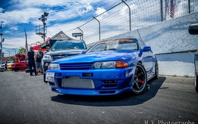 Picture nissan, turbo, wheels, skyline, japan, blue, jdm, tuning, gtr, front, face, racing, r32, nismo, datsun