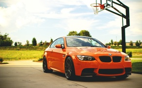 Picture the sky, clouds, orange, BMW, BMW, orange, e92, basketball court