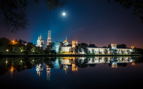 Picture summer, night, the city, lights, Moscow, excerpt, light, the monastery, Novodevichy, night, russia, moscow, nightlight, …